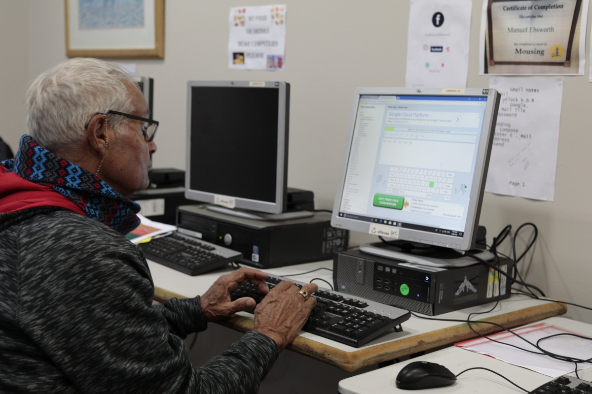 One of the learners using a typing program at KBHAC